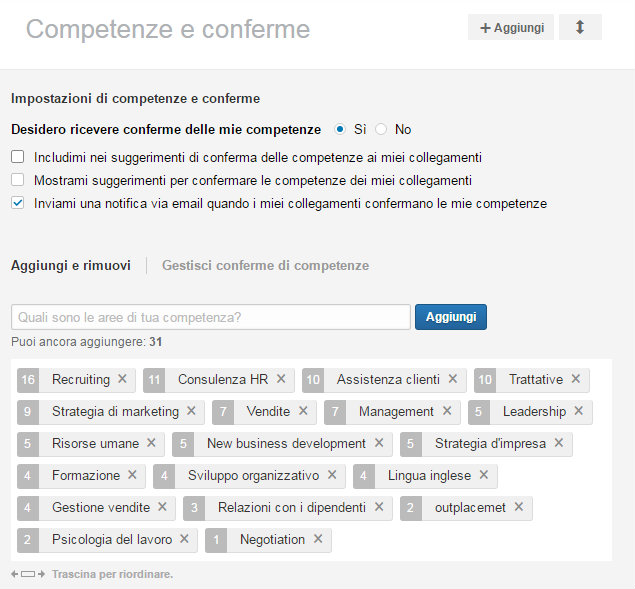 conferma competenze linkedin