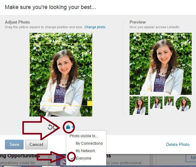 visibilità dell'immagine del profilo linkedin